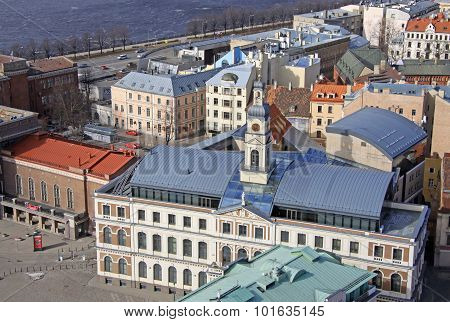 Aerial View Of Riga Center From St. Peter's Church, Riga, Latvia. View At Building Of Riga City Coun