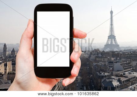 Smartphone With Cut Out Screen And Eiffel Tower
