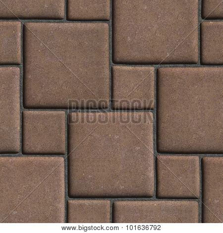 Concrete Brown Figured Pavement of Large and Small Squares.