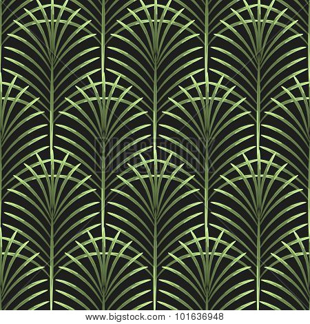 Palm leaves vector seamless pattern.