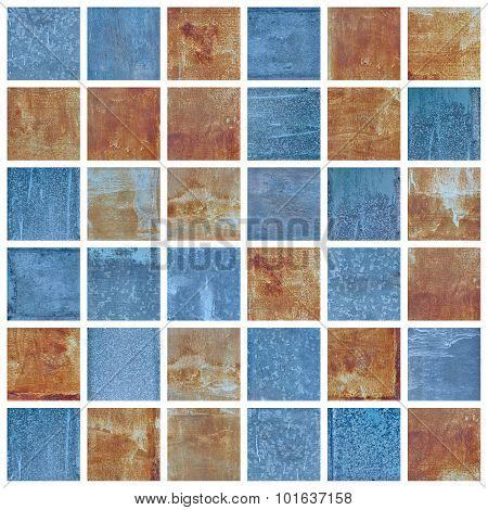 Set Of Old Damaged Metal Blocks As Mosaic