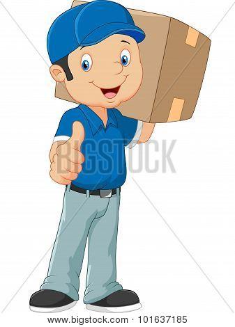 Cartoon postman gives thumb up