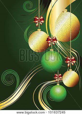Gold And Green Xmas Balls
