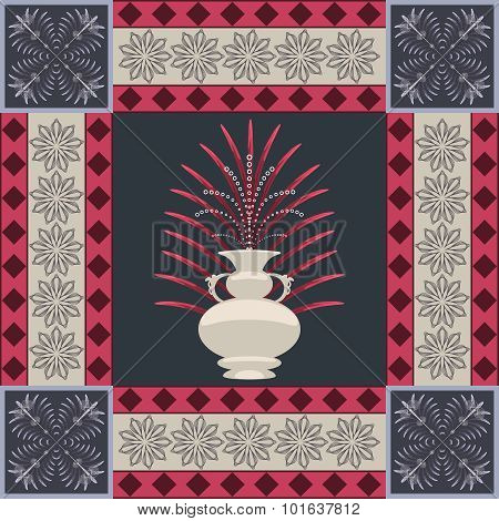 Oriental carpet vase and leaf decor element