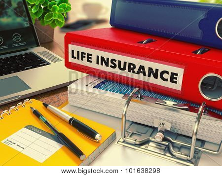 Red Office Folder with Inscription Life Insurance.