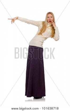 Pretty girl in violet long dress isolated on white