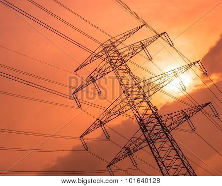 Electric poles with wires