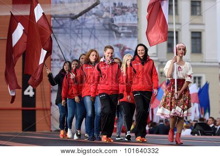 ST. PETERSBURG, RUSSIA - SEPTEMBER 7, 2015: Team Latvia during opening ceremony of the XI World Championship in Fire and Rescue Sport. First World Championship was held in 2002