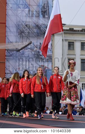 ST. PETERSBURG, RUSSIA - SEPTEMBER 7, 2015: Team Poland during opening ceremony of the XI World Championship in Fire and Rescue Sport. First World Championship was held in 2002