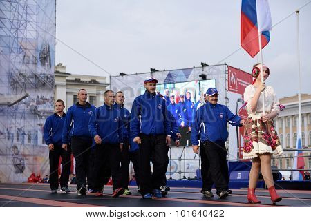 ST. PETERSBURG, RUSSIA - SEPTEMBER 7, 2015: Team Russia during opening ceremony of the XI World Championship in Fire and Rescue Sport. First World Championship was held in 2002