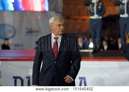 ST. PETERSBURG, RUSSIA - SEPTEMBER 7, 2015: Governor of St. Petersburg Georgy Poltavchenko at the opening ceremony of the XI World Championship in Fire and Rescue Sport