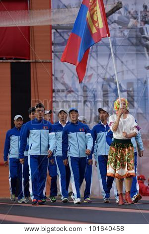 ST. PETERSBURG, RUSSIA - SEPTEMBER 7, 2015: Team Mongolia during opening ceremony of the XI World Championship in Fire and Rescue Sport. First World Championship was held in 2002