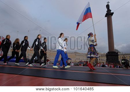 ST. PETERSBURG, RUSSIA - SEPTEMBER 7, 2015: Team Russia-2 during opening ceremony of the XI World Championship in Fire and Rescue Sport. First World Championship was held in 2002