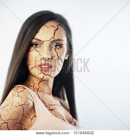 Young Woman With Cracked Skin