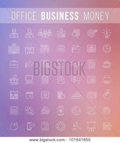 Flat Thin Line Business And Finance Vector Icons
