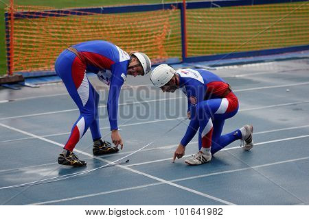 ST. PETERSBURG, RUSSIA - SEPTEMBER 9, 2015: Team Czech Republic prepare to competitions in combat deployment during XI World Championship in Fire and Rescue Sport. 1st World Championship held in 2002