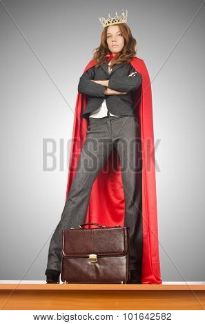 Queen businessman standing on the desk