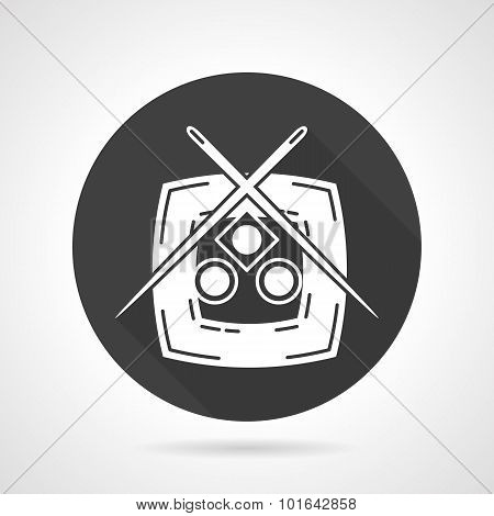Plate with sushi black vector icon