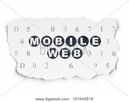 Web development concept: Mobile Web on Torn Paper background