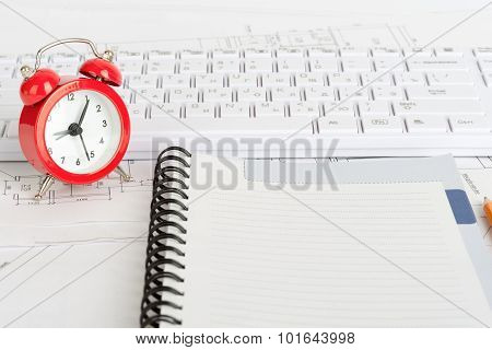 Exercise book and keyboard