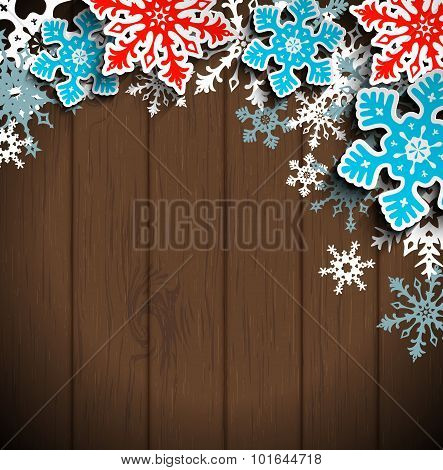 Abstract snowflakes on dark wood, winter christmas concept, illustration