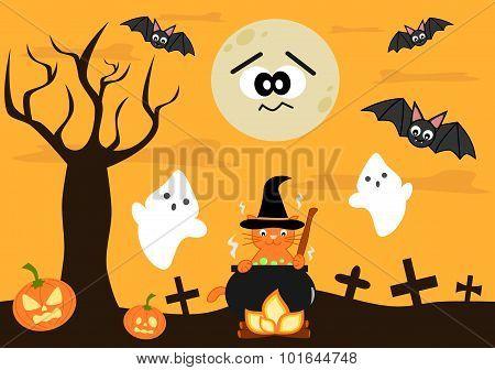 cartoon halloween vector background for kids