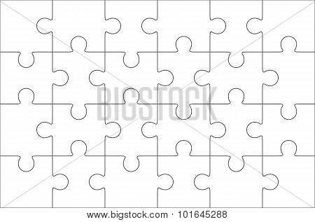 Jigsaw Puzzle Blank 6X4 Elements, Twenty Four Vector Pieces.