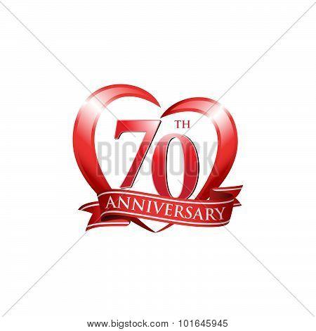 70th anniversary logo red heart ribbon