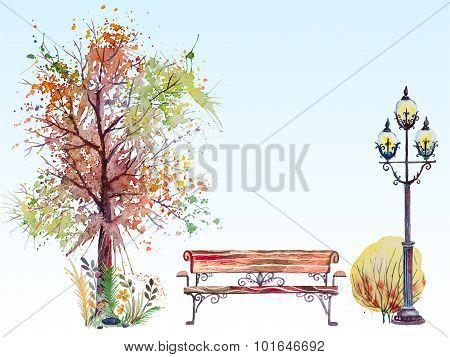Fall background with tree and lantern