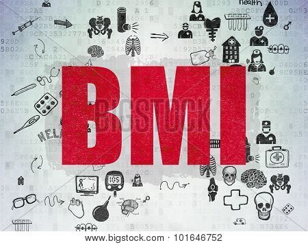 Health concept: BMI on Digital Paper background