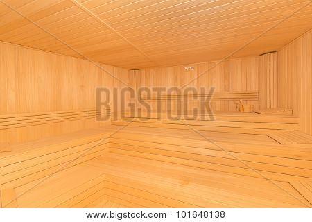 Hot wooden sauna room interior