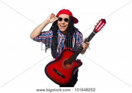 Man with dreadlocks holding guitar isolated on white