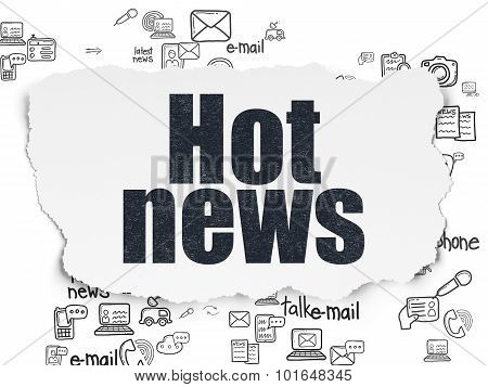 News concept: Hot News on Torn Paper background