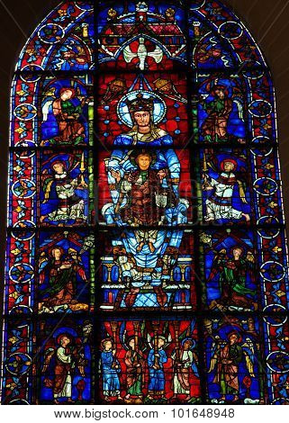 Stained Glass The Blue Virgin At Chartres Cathedral
