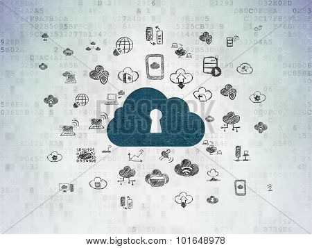 Cloud technology concept: Cloud With Keyhole on Digital Paper background
