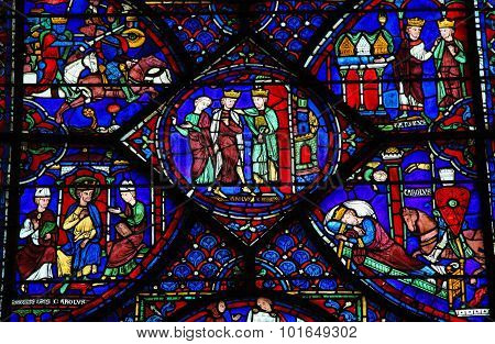 Stained Glass Of Charlemagne At Chartres Cathedral
