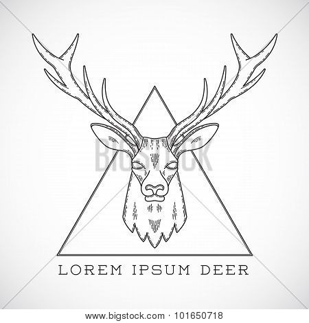 Abstract Vector Line Style Deer Face Illustration in Triangle with Typography.