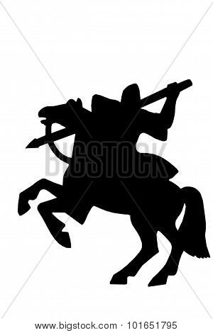 Silhouette Of Medieval Knight On A Horse