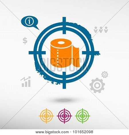 Toilet Paper Icon On Target Icons Background