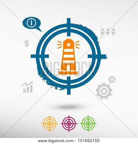 Lighthouse Icon On Target Icons Background