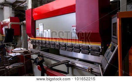 Image of modern bending machine in workshop