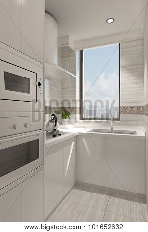 Small clean white kitchen with window and stove (3D Rendering)