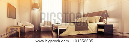 Panorama of elegant vintage suite in a luxury hotel (3D Rendering)