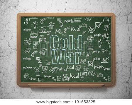 Politics concept: Cold War on School Board background