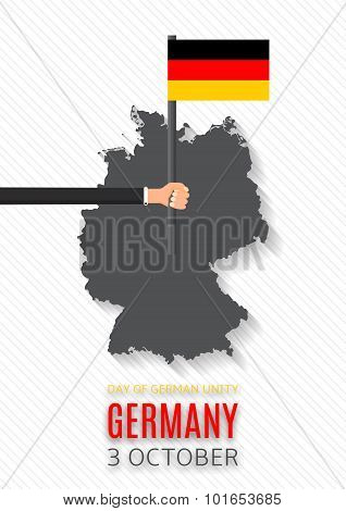 Flyer With Germany Map And Hand Hold Flag