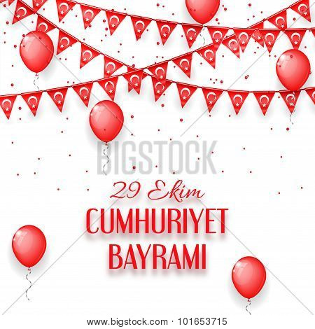 Background with a garland from Turkish flags vector illustration vector illustration and an inscript