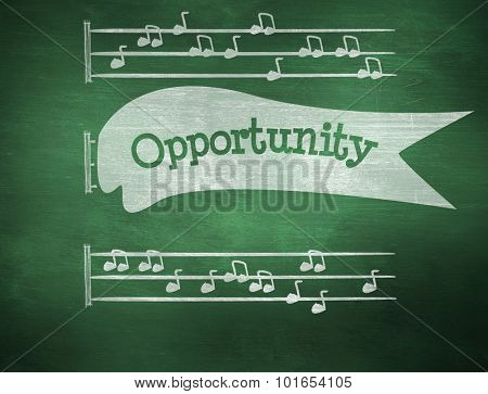 The word opportunity and music notes against green chalkboard