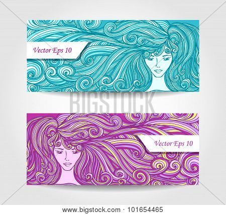 Set Beautiful Girl with long curly hair in cyan lilac