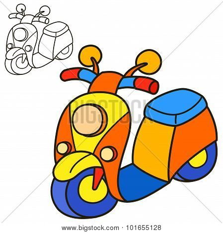 Scooter. Coloring book page. Cartoon vector illustration.