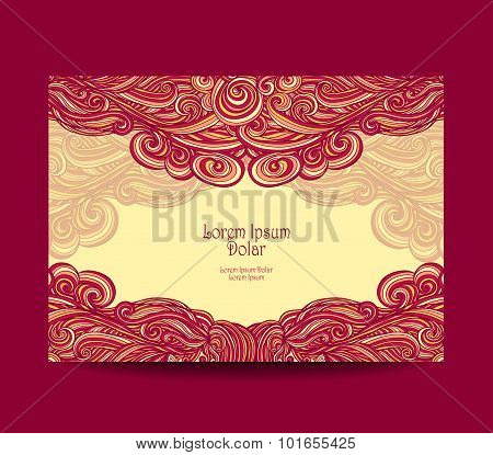 Template  label with abstract wave  in red yellow
